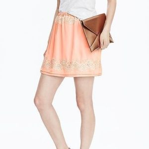 Banana Republic Peach Lace Mini Skirt Large